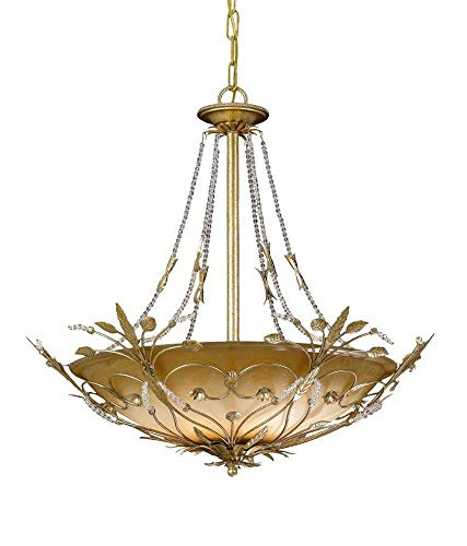 Crystorama 4700-GL Leaf, Flower, Fruit Six Light Chandeliers from Primrose collection in Gold, Champ, Gld Leaffinish,