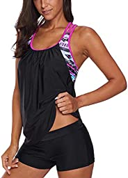 Bsubseach Racerback Tankini Swimsuit Patchwork Sport 2 Pieces Bathing Suit for Women