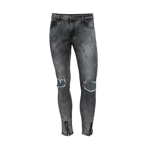 DORIC Wholesale Men Slim Biker Zipper Skinny Frayed Pants Distressed Rip Denim Jeans Trousers Gray