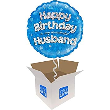 InterBalloon Helium Inflated Happy Birthday Husband Balloon Delivered In A Box