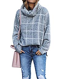 2019 Winter Women's Turtleneck Knit Sweater Long Sleeves Pullover Plaid Side Split Checked Outwear Loose Fit Tops