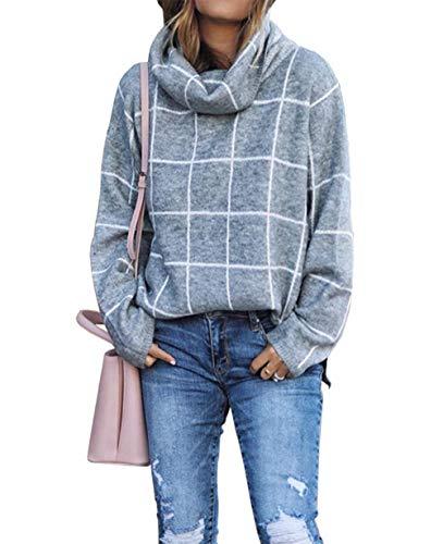 KIRUNDO 2019 Winter Women's Turtleneck Knit Sweater Long Sleeves Pullover Plaid Side Split Checked Outwear Loose Fit Tops