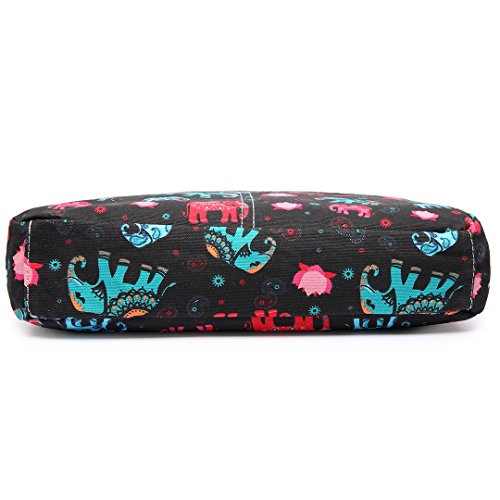 Miss Lulu Damen Leinwand Tasche Schultertasche Cross Body Messenger Bag Tupfendruck Elefant Katzen Eule Blumen Gepunktet Schmetterling Schulranzen Satchel Elefant Schwarz