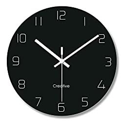 FlorLife Modern Hanging Wall Clock, 12 Silent Non Ticking Quality Quartz Glass Clocks for Home/Kitchen/Office/School Easy to Read, Battery Operated Analog Clock - Black