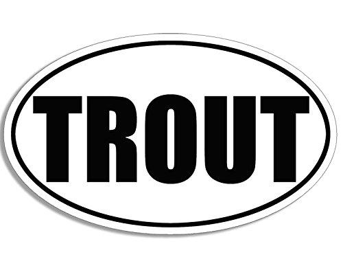 American Vinyl BW Oval Trout Sticker (Fish Fishing Fisher Fisherman)