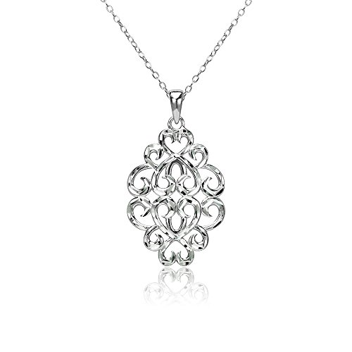 (Sterling Silver Diamond-cut Filigree Swirl Hearts Necklace)