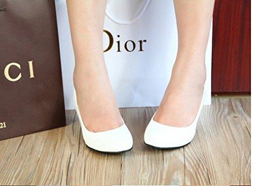 Zapatos 5cm de Blanco de Cuero con mate Redonda Solo Zapatos Profesional Boda Trabajo Fina Pintado Qiqi Xue de Zapatos Cómodos Cabeza Mujer Rojo Zapatos luz de de U4pqZELxw