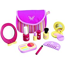 Wonderworld Pretend Pinky Cosmetic Girl Toy Set - 9 Piece Wooden Essential Makeup Set