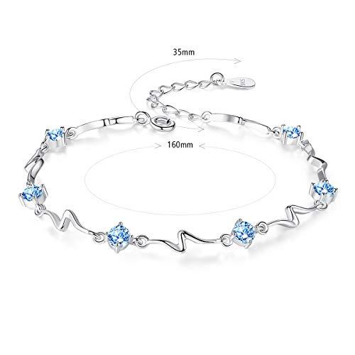 Sterling Silver Bracelets for Women Swarovski Diamonds Blue Sapphire Links ,Friendship Bangle 18K White Gold Plated Birthstones Cubic Zirconia Charms 925 Jewelry Fashion w/Box 6.3 inch+1.4 inch Extend