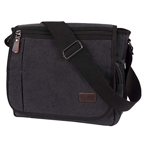 Laptop Messenger Bag for Men, Modoker Mens Canvas Vintage Shoulder Satchel Crossbody Bags Military Laptop Computer Bag for Women College School Work Black