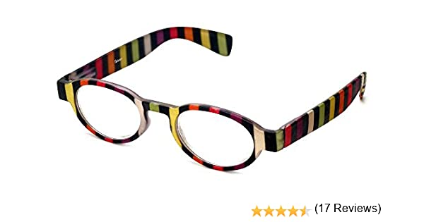 2bcf9f57b80b Amazon.com  Calabria 4374 Oval Reading Glasses w  Striped Design   Matching  Case in Black +2  Clothing