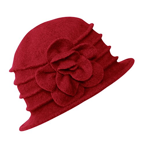 Urban CoCo Women's Floral Trimmed Wool Blend Cloche Winter Hat (Red-Model C) by Urban CoCo