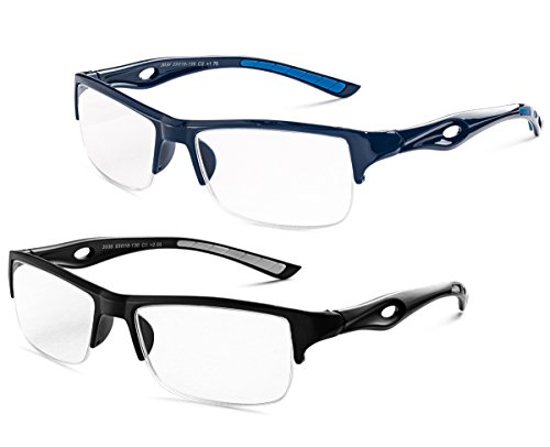 Specs Half Rimmed Rectangular Glasses for Reading (Matte Black with White, Shiny Blue) +1.50 Value 2 - Glasses Rectangular Mens