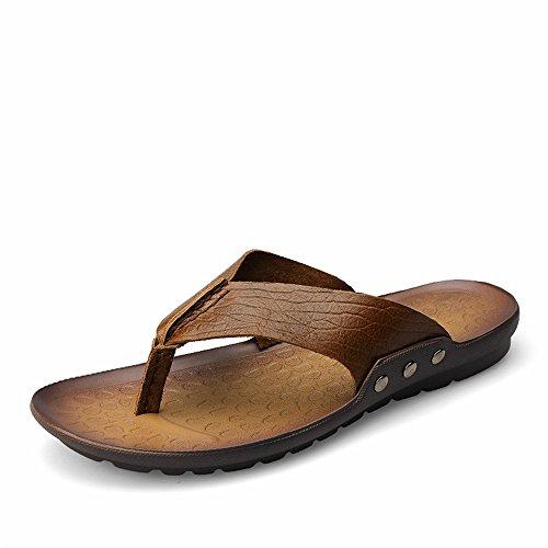 Infradito sandalo Cachi uomo Color da antiscivolo Dimensione Sandalo Cachi stile uomo 2018 da casual pelle EU Scarpe in Morbido 40 qwBWC7Ht