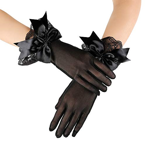 JISEN Lady Banquet Party Bow Sexy Lace Elegant with Wrist Ruffle Bridal Wedding Gloves 11
