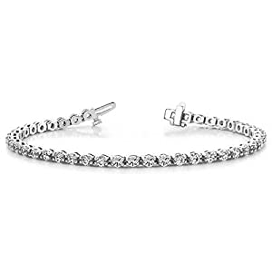 14K White Gold Diamond Round Brilliant Prong Set Tennis Bracelet (4.95ctw.) - Size 8.25