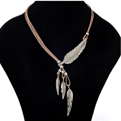 Usstore 1PC Women Pendant Fashion Bohemian Style Black Rope Chain Feather Pattern Necklace Partty Gift Alloy (Silver)