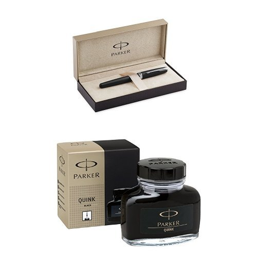 PARKER Sonnet Matte Black Lacquer with Chrome Colour Trim Starter Bundle: Fountain Pen (medium nib) with converter + PARKER Super Quink Black ink bottle