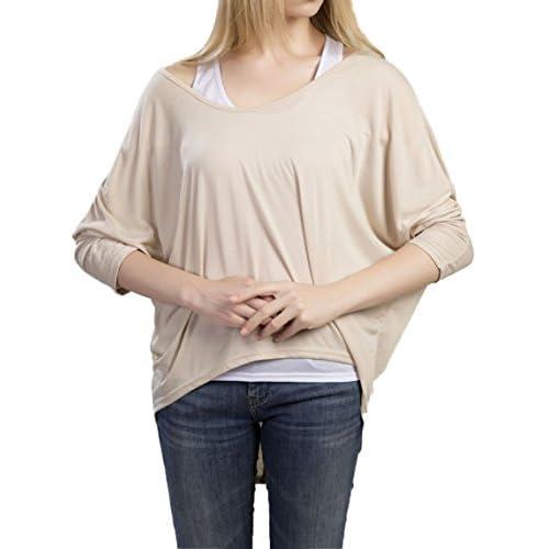 b2656b9402a CHDT-Shirt Mujeres Suelto Jumper Pullover Camiseta Cuello Redondo Camisa  Tops con de Murciélago Mangas