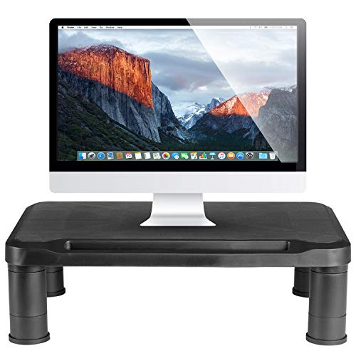 Halter Height Adjustable Monitor Stand - Monitor Riser with Height Adjustable Feet - Office Storage Organizer, Shelf for Desktop, Printer, Screen, TV, Tablet Holder - Black
