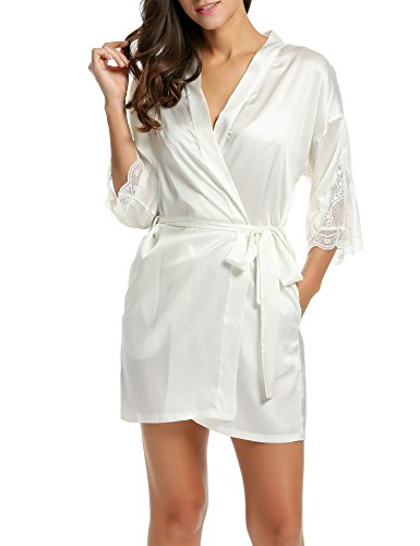 Lace Trim Satin Tie (HOTOUCH Women's Bathrobes Short Kimono Robe Satin Sleepwear Silky Lace Trim Lingerie with Oblique V-Neck (S, White))
