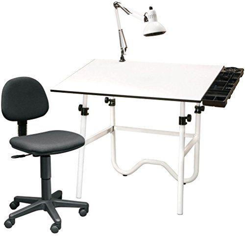Alvin Table Lamp - Alvin CC2001A CC Series Creative Center White Base Onyx Table with Office Chair, Storage Tray, and Lamp