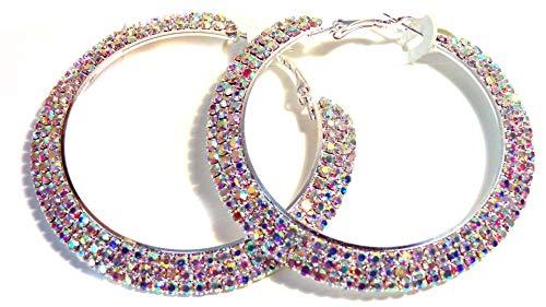 Crystal Iridescent Rhinestone Hoop Earrings 2.5 Inch ABS Rhodium Crystal Hoop Earrings