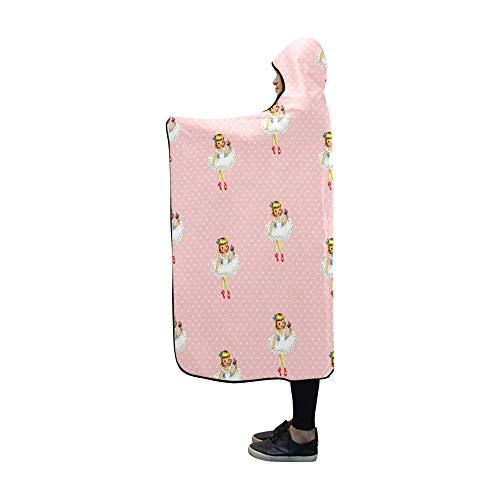 (Jnseff Hooded Blanket Vintage Ballerina Cartoon Ballet Dancer Girl Pink Pattern Blanket 60x50 Inch Comfotable Hooded Throw)