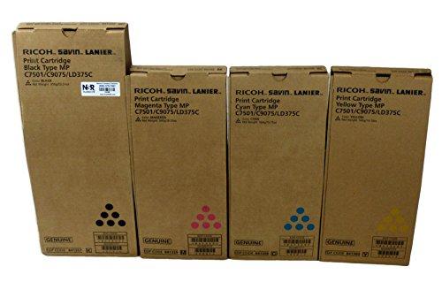 Lanier Copier Toner (Genuine Ricoh Lanier Savin MP C6501/C7501/C9075/LD375C Toner Bundle Set BCYM 841357, 841358, 841359,841360 Sealed In Retail Packaging)