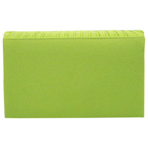 Envelope Evening Satin Bag Apple Clutch Pleated Silver Green Classic Women Handbag Rhinestone Cckuu nqtwRcYwT