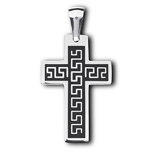 316L Stainless Steel Greek Key Design Cross Pendant