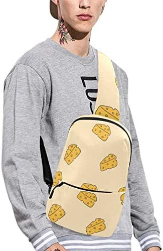 Sling Shoulder Bag Fashion Cheese Delicious Sauce Hand-painted Crossbody Bag Daily Sports Climbing Or Multi-purpose Backpack Men And Women Ladies And Teens