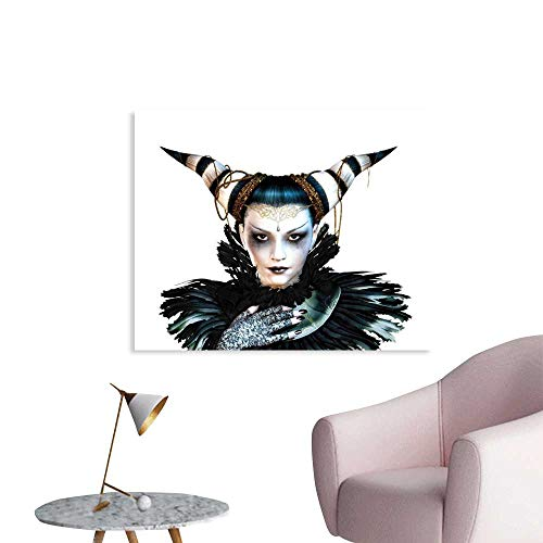J Chief Sky Fantasy Custom Poster Portrait of a Gothic Lady with a Carnival Costume Black Lipstick and Hair Horns Wall Stickers Home Decoration W36 xL24]()