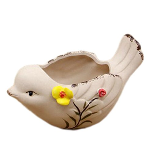 (George Jimmy Outdoor Indoor Creative Mini Ceramic Flower Container Pots Planters-Bird)