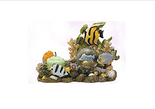 Candle Holder Centerpiece Tropical Fish Tea Light Votive Candle Holder with Mini Snow Globe. Resin. 4 1/2