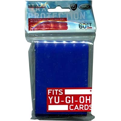 Max Protection Card Supplies YUGIOH Card Sleeves Flat Blue 60 Count: Toys & Games