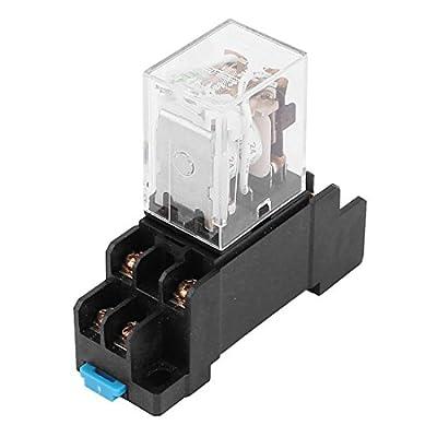 uxcell 24V AC Coil 8 Pin DPDT LED Pilot Lamp Power Relay w 8 Screw Socket