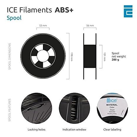 2.3 kg ICE Filaments ICEFIL1PLA103 filamento PLA,1.75mm Brave Black