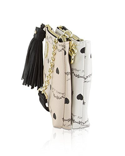 Zip Crossbody Betsey Double Johnson Clutch Compartment Tassel Bag Sand zXEUqwUx