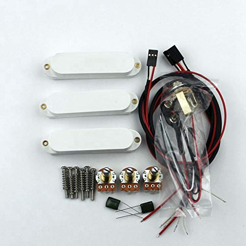 Artec Power White Single Coil Active Pickups Complete Wiring Setup (SMDC35-WH)
