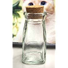 """Mini Glass Favor Corked Jar Bottle Carafe, 4-1/4-inch, """"Vintage"""" Milk Jug"""