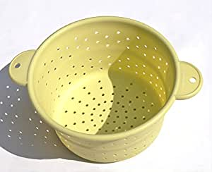 MelonBoat Silicone Collapsible Colander Steamer with Handles, Microwavable and Dishwasher Safe, Foldable Fruit Pasta Strainer, Yellow Green