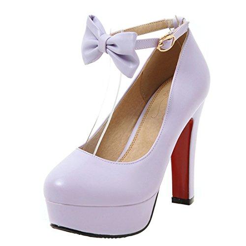 AIYOUMEI Damen Riemchen Pumps mit Schleife High Heel Plateau Blockabsatz Elegant Abend Schuhe Lila