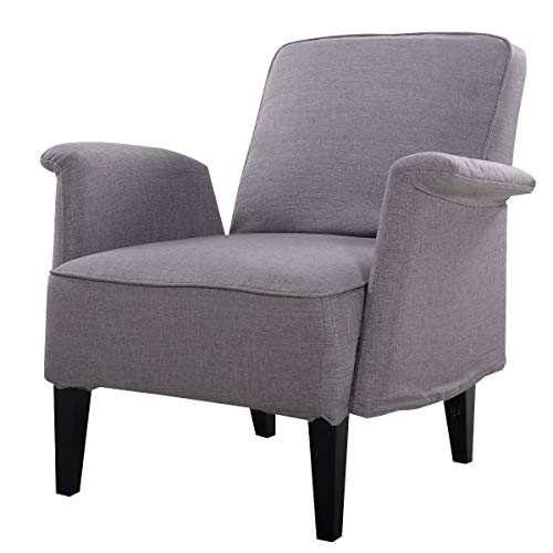 (Diamondgift Arm Chair Sofa Upholstered Seat Accent Leisure Living Room Furniture Modern Gray)
