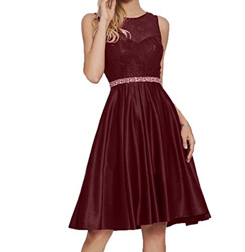 Charmant Damen Ballkleider Burgundy Brautjungfernkleider Knielang Festlichkleider Partykleider Kurz Abendkleider nUWvxn