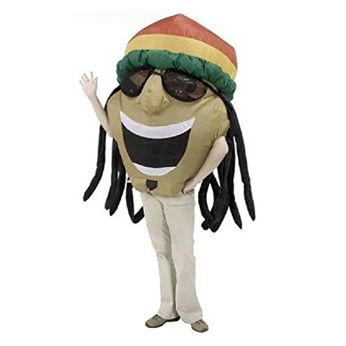 [Coolplay Adult Funny Inflatable Jamaican Costume With Big Fat Head Wearing Sunglasses Hat Airblown Illusion Halloween Outfits] (Big Fat Halloween Costumes)