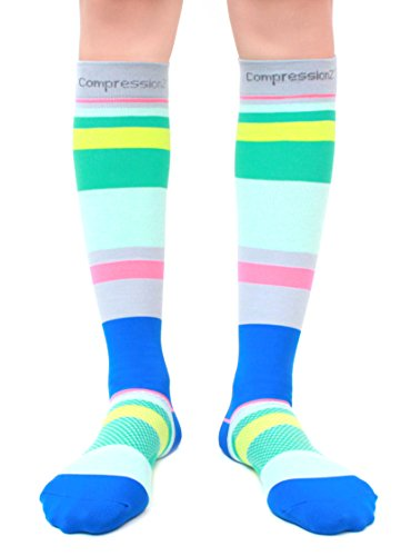 Compression Socks (Ocean Stripes M/ 20-30mmHg) Men & Women Fun Running Casual Socks
