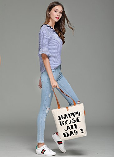 So'each Women's Happy Rose All Day! Graphic Top Handle Canvas Tote Shoulder Bag