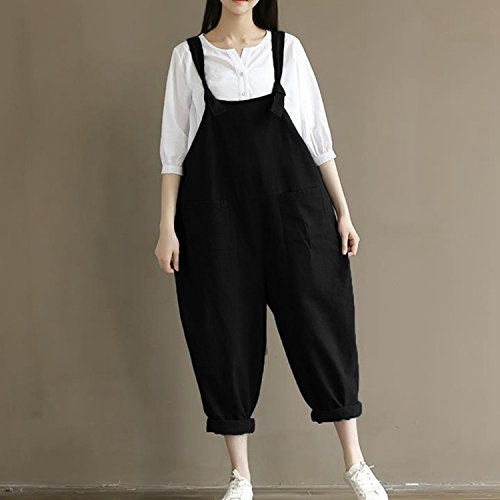 f54a9ff0908 Women s Casual Jumpsuits Overalls Baggy Bib Pants Plus Size Wide Leg Rompers