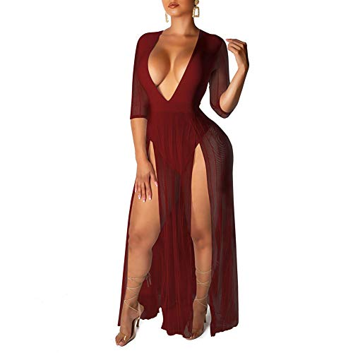 acelyn Women's Sexy Bodysuit Dress - Half Sleeve Deep V Neck Sheer Mesh High Slit Maxi Dresses Clubwear Red Medium ()